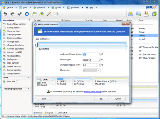 EaseUS Partition Master Professional, Other Utilities Software Screenshot