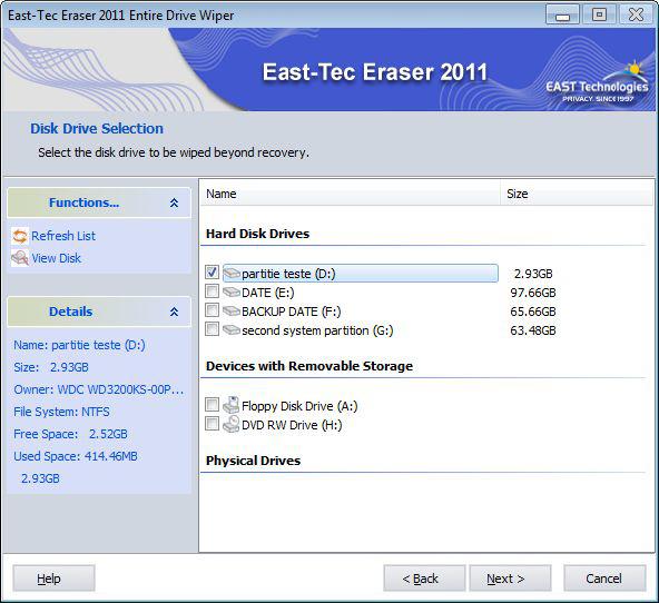 East-Tec Eraser 2011, Deletion Software Screenshot