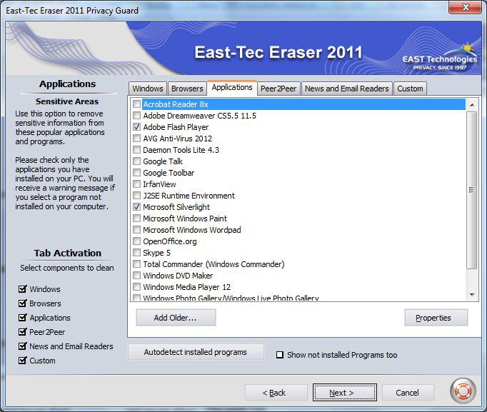 East-Tec Eraser 2011, Security Software Screenshot