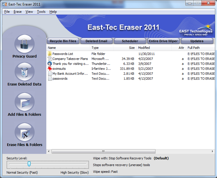 East-Tec Eraser 2011 Screenshot
