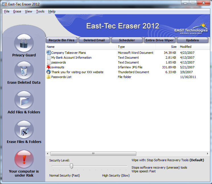 East-Tec Eraser 2012 Screenshot