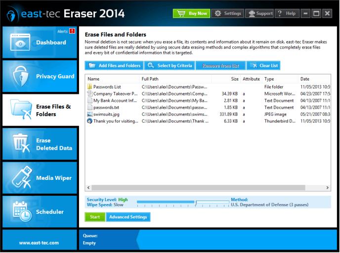 east-tec Eraser, Security Software Screenshot