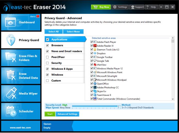 Access Restriction Software, east-tec Eraser Screenshot