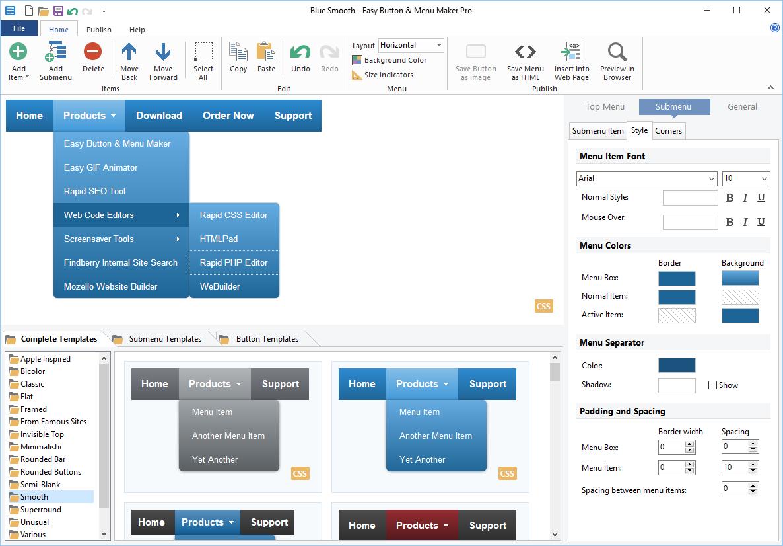 Easy Button & Menu Maker Pro Screenshot