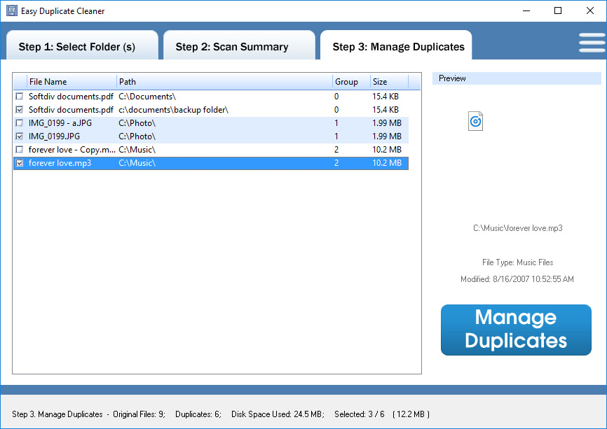 Easy Duplicate Cleaner, Software Utilities Screenshot