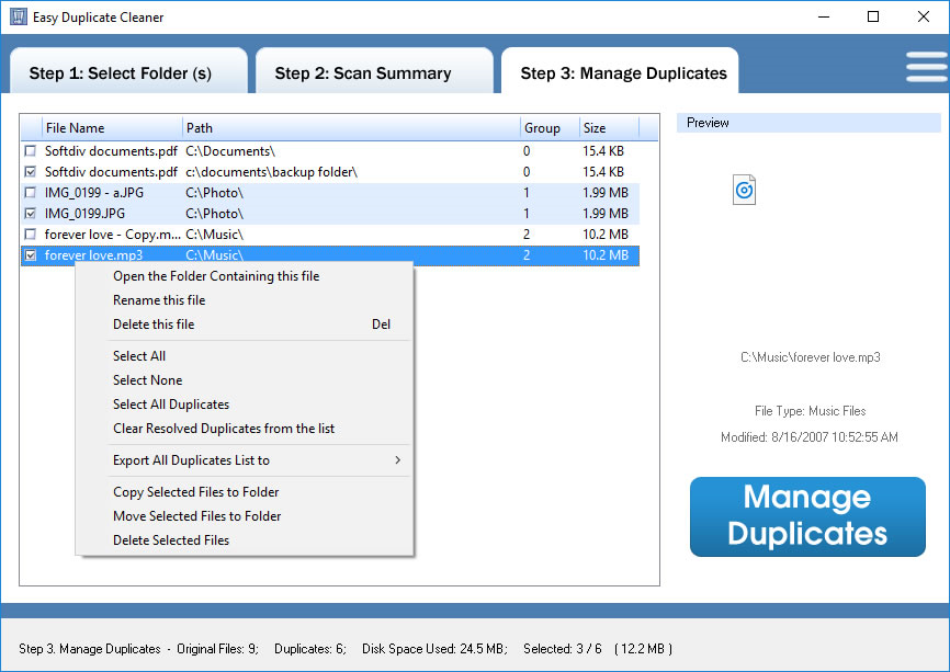 Duplicate Files Software, Easy Duplicate Cleaner Screenshot