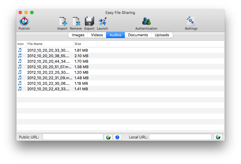 Easy File Sharing, File Sharing Software Screenshot