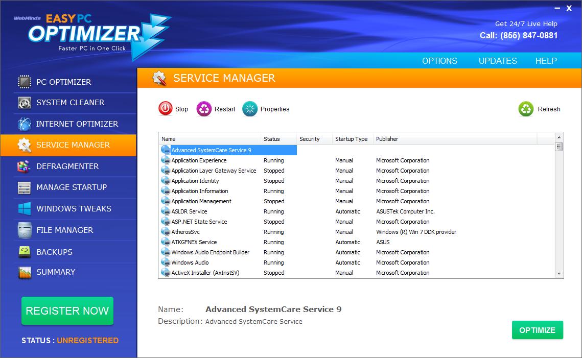 Easy PC Optimizer, Software Utilities Screenshot