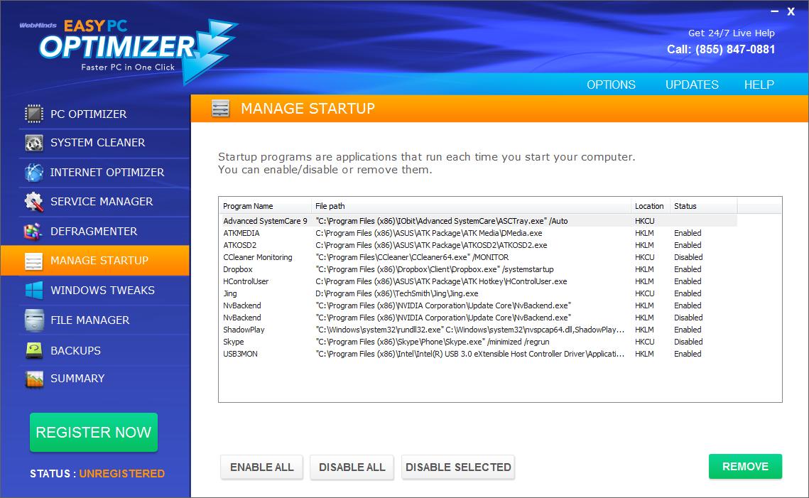 Software Utilities, Easy PC Optimizer Screenshot