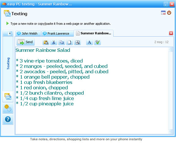 Easy PC Texting 2.3, Instant Messaging Software Screenshot