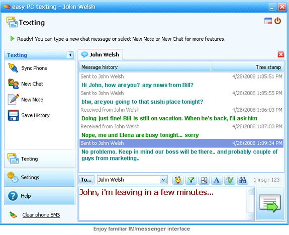 Easy PC Texting 2.3 Screenshot