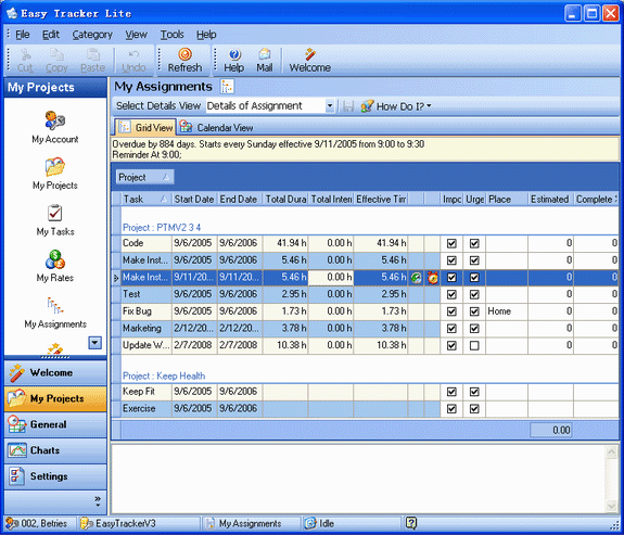 Easy Tracker Standard, Time Tracking Software Screenshot