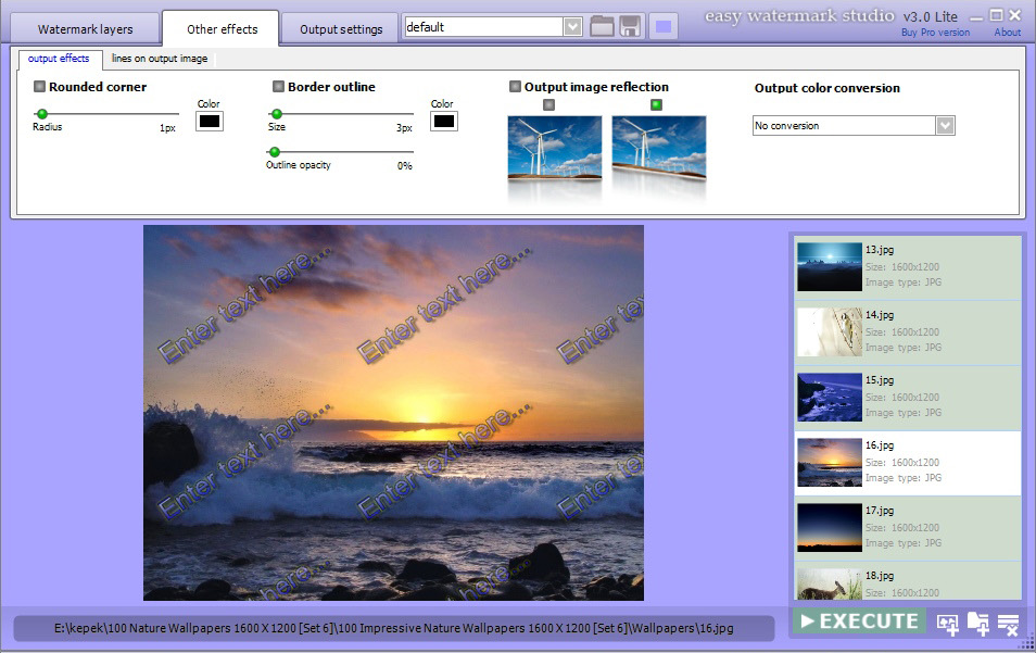Easy Watermark Studio PRO V.3.4, Design, Photo & Graphics Software Screenshot