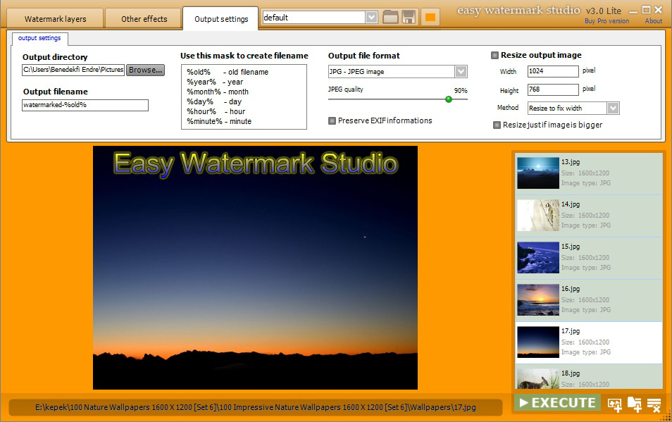 Design, Photo & Graphics Software, Easy Watermark Studio PRO V.3.4 Screenshot