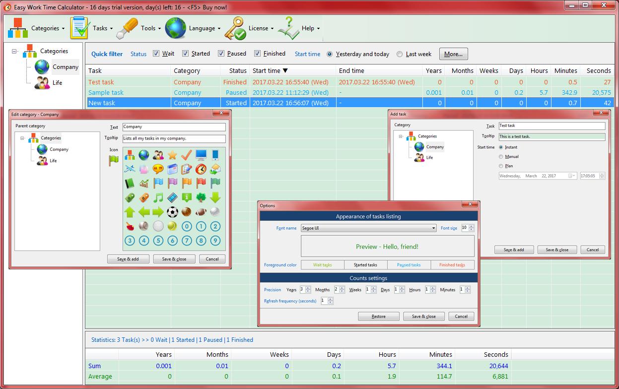 Easy Work Time Calculator Screenshot