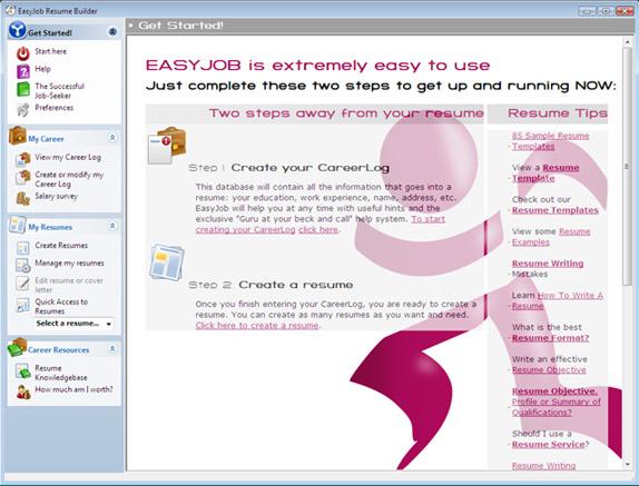 EasyJob Resume Builder Screenshot
