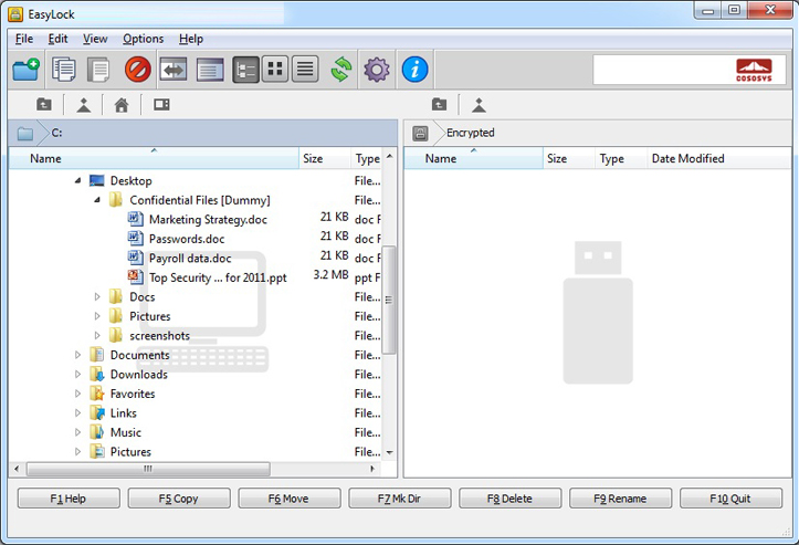 Access Restriction Software, EasyLock - Portable Data Encryption Screenshot