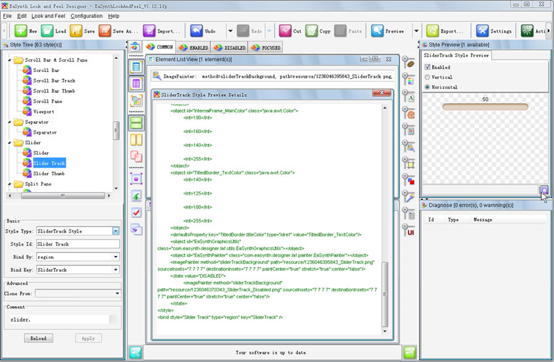 EaSynth Look and Feel Designer, Development Tools Software Screenshot
