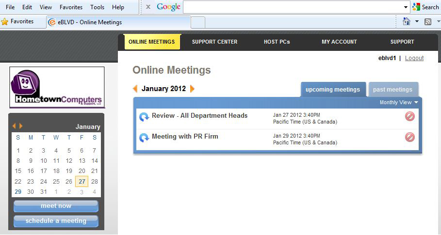 eBLVD Online Meetings Screenshot