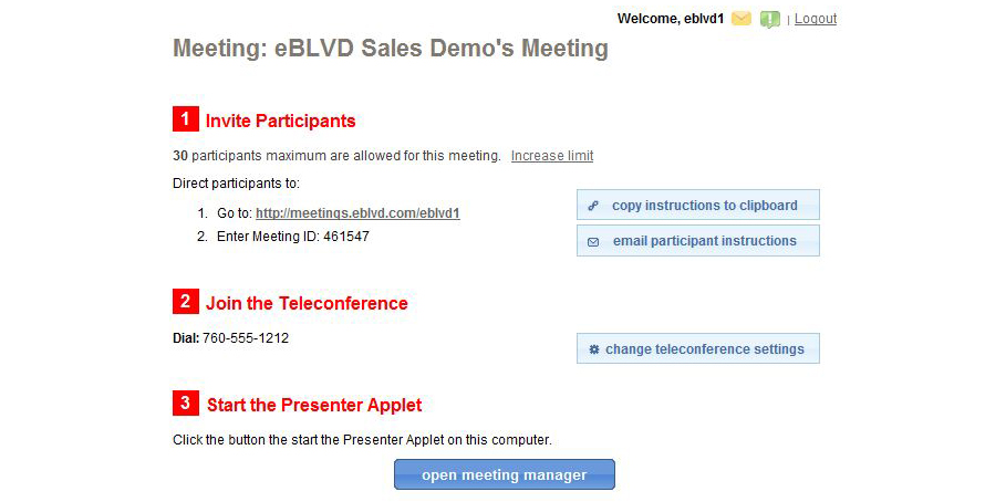 eBLVD Online Meetings, Internet Software Screenshot