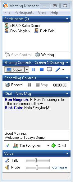 eBLVD Online Meetings, Remote Access Software Screenshot