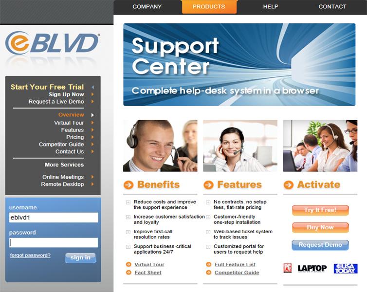 eBLVD Support Center HelpDesk Screenshot