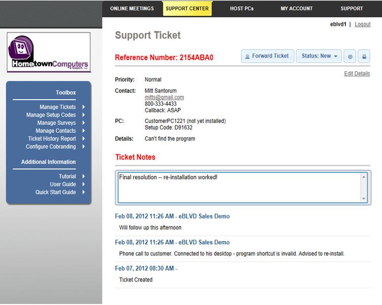 eBLVD Support Center HelpDesk, Other Utilities Software Screenshot