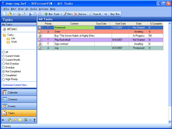 EfficientPIM, PIM Software Screenshot