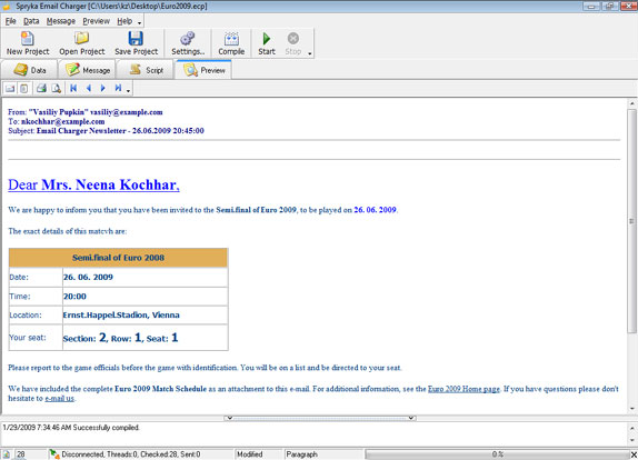 Email Charger, Internet Software Screenshot