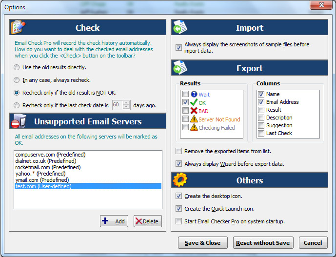 Email Checker Pro, Internet Software Screenshot