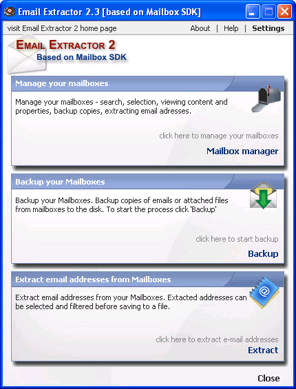 Email Extractor, Email Extraction Software Screenshot