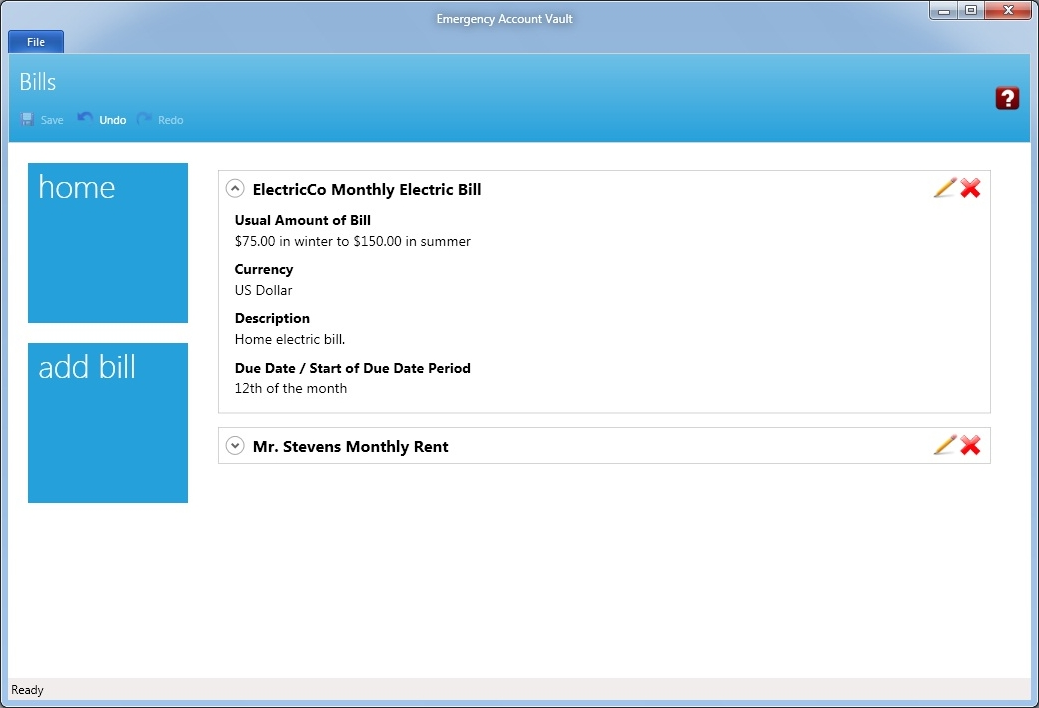Business & Finance Software, Emergency Account Vault Screenshot