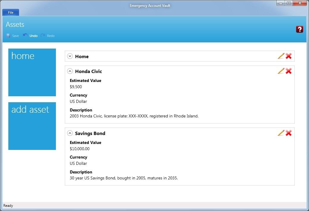Finance Software, Emergency Account Vault Screenshot