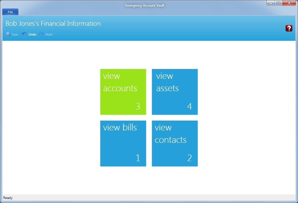 Emergency Account Vault, Finance Software Screenshot