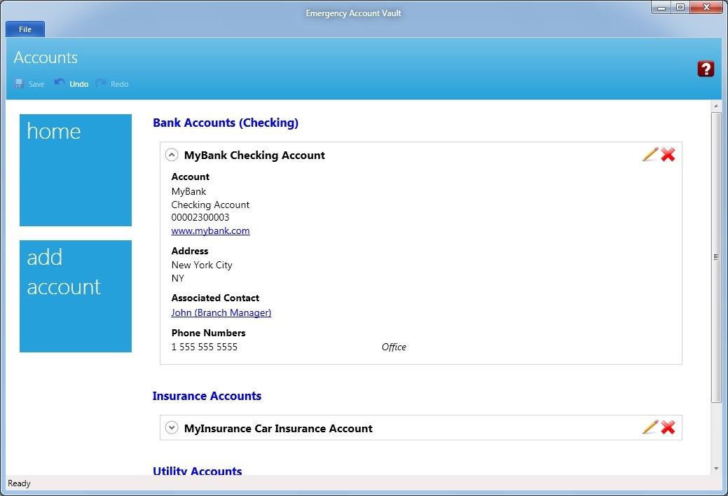 Emergency Account Vault, Business & Finance Software Screenshot