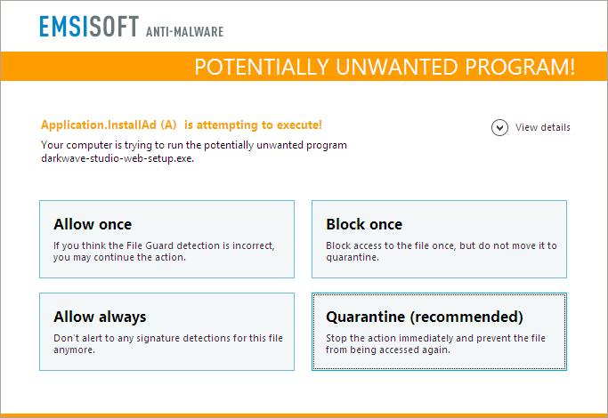 Emsisoft Anti-Malware, Access Restriction Software Screenshot