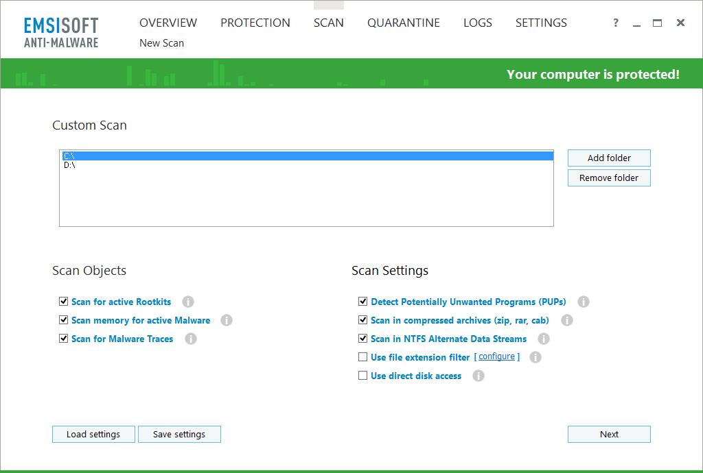 Access Restriction Software, Emsisoft Anti-Malware Screenshot