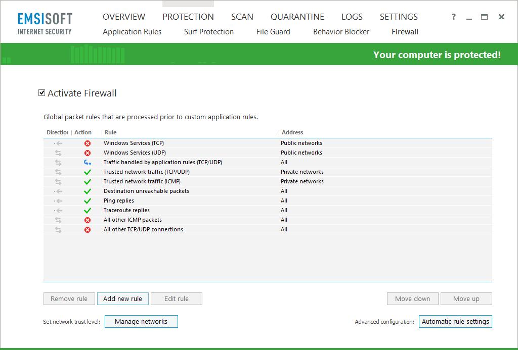 Emsisoft Internet Security, Security Software Screenshot