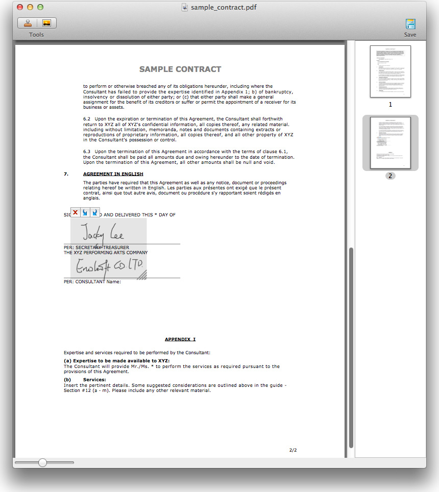 Enolsoft Signature for PDF Screenshot