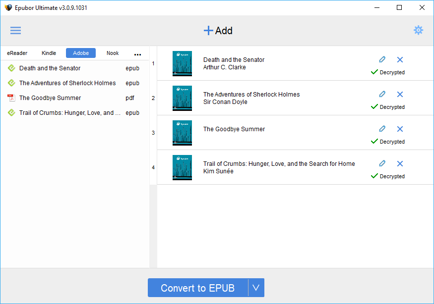 Epubor Ultimate, eBook Software Screenshot