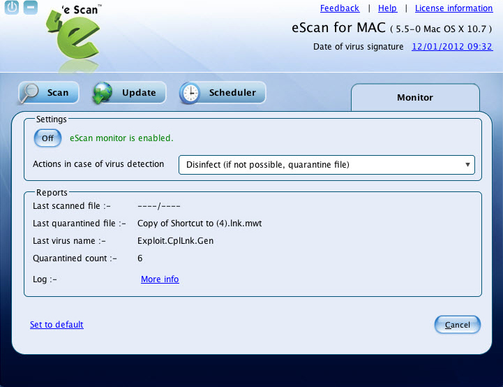 eScan Anti-Virus Security for Mac, Access Restriction Software Screenshot