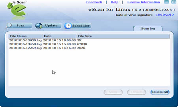 eScan for linux Desktops, Security Software Screenshot