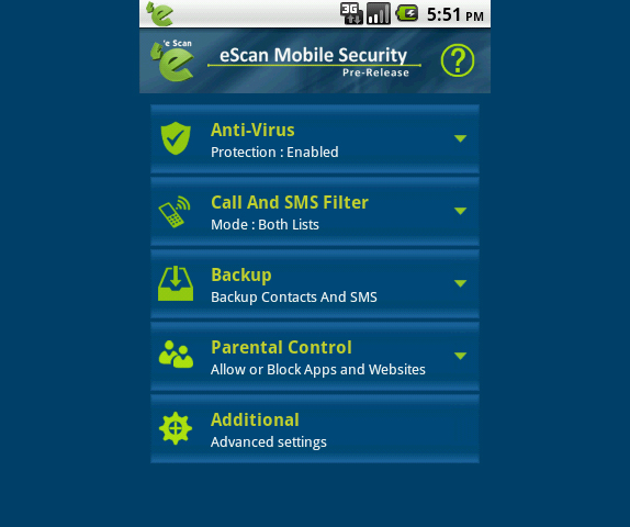 eScan Tablet Security for Android Screenshot