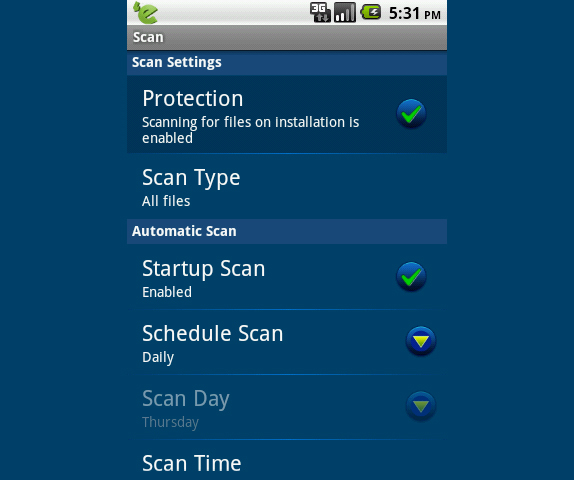 eScan Tablet Security for Android, Access Restriction Software Screenshot