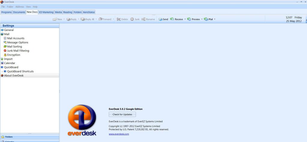 EverDesk Google Edition, Email Client Software Screenshot