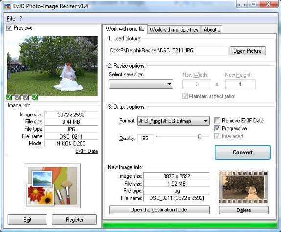 EvJO Photo-Image Resizer Screenshot