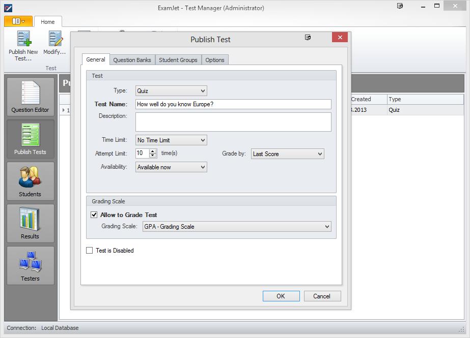 ExamJet Quiz Maker - Standard Edition, Educational Software Screenshot