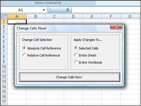 Change Absolute References to Relative References in Excel Screenshot