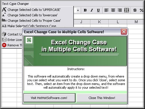 Excel Change Case in Multiple Cells Screenshot