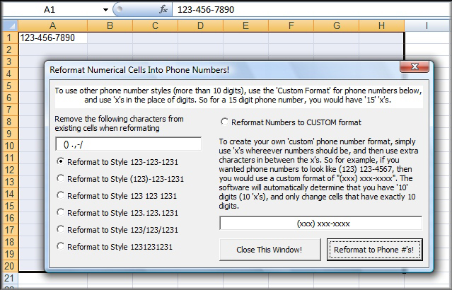 Excel Customize Number Format (Phone numbers) Screenshot